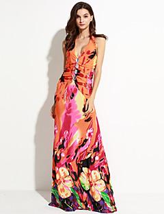 Women's Boho Beach A Line Dress,Print Halter/Deep V Maxi Sleeveless Red/Black Summer