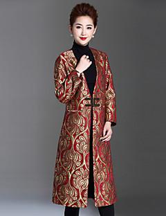 Feminino Casaco Casual / Tamanhos Grandes Sofisticado Inverno,Jacquard Dourado Poliéster Decote V-Manga Longa