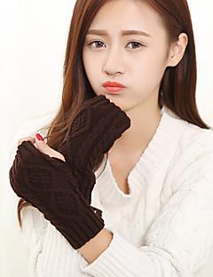 Strikket klær til kvinner håndleddet lengde halv finger søt / fest / uformell vinter svart / hvit / brun / grå hansker