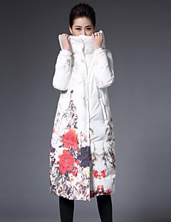 Kadın Çiçekli Sofistike Günlük/Sade / Büyük Beden Kaban,Polyester Beyaz Ördek Tüyü Şişme Mont-Uzun Kollu Kapşonlu Beyaz