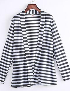 Women's Striped White Wrap , Asymmetrical Long Sleeve