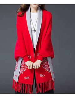 Dame Simpel Casual/hverdag / Plusstørrelser Normal Cloak / Capes Ensfarvet,Blå / Rød Rund hals Langærmet Bomuld / Rayon Efterår / Vinter