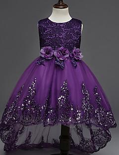 πριγκίπισσα ασύμμετρη φόρεμα κοριτσιού λουλουδιών - λαιμό από βαμβάκι αμάνικο κόσμημα με εφαρμογή από ydn