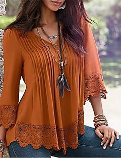 Feminino Camiseta Casual Sensual Simples Outono Inverno,Sólido Algodão Decote V Média