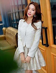 Feminino Jaqueta Para Noite Casual Férias Vintage Moda de Rua Sofisticado Primavera Outono, Sólido Retalhos Branco Lã Acrílico Poliéster