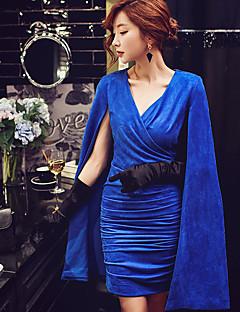 Dame Sexet Vintage Sofistikerede I-byen-tøj Formelle Fest/cocktail Bodycon Shift Skede Kjole Ensfarvet,V-hals Over knæet Uden ærmer Blå