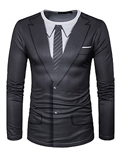 Men's Sports Formal Going out Casual/Daily Simple Active Spring Fall T-shirt,Geometric Print Round Neck Long Sleeve Cotton Medium