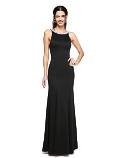 מעטפת \ עמוד עד הריצפה סאטן שמלה לשושבינה  עם חרוזים קפלים על ידי LAN TING BRIDE®