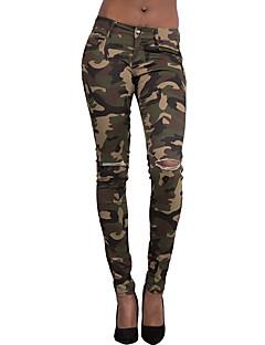 Obcisłe Jeansy Damskie Spodnie-Postarzane Moda miejska Wyjściowe Motyw świąteczny Kamuflaj Podarte Średni stan Zamek błyskawiczny