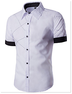 Men's Casual/Daily Simple Summer Shirt,Color Block Classic Collar Short Sleeves Cotton