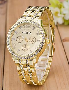 בגדי ריקוד נשים שעוני ספורט שעוני שמלה שעוני אופנה שעון יד יהלוםSimulated שעון קווארץ חיקוי יהלום אבן נוצצת משובץ זהב ורוד סגסוגת להקה