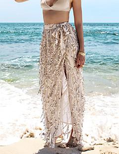Röcke,Schaukel einfarbigUrlaub Strand Sexy Hohe Hüfthöhe Maxi Elastizität Polyester Micro-elastisch Sommer