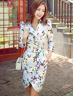 Feminino Casaco Longo Casual Férias Para Noite Boho Sofisticado Vintage Outono Primavera,Floral Estampa Colorida Longo Elastano Poliéster