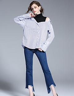 Feminino Harém Jeans Calças,Casual Simples Cor Única Cintura Alta Zíper Algodão Inelástico Com Molas Verão