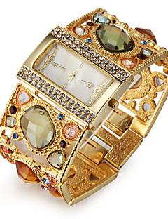 女性用 ファッションウォッチ ブレスレットウォッチ 日本産クォーツ 模造ダイヤモンド クォーツ 合金 バンド 光沢タイプ エレガント腕時計 ラグジュアリー ゴールド