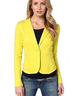 Damen Solide Einfach Arbeit Blazer,Rundhalsausschnitt Frühling Herbst Langarm Standard Baumwolle