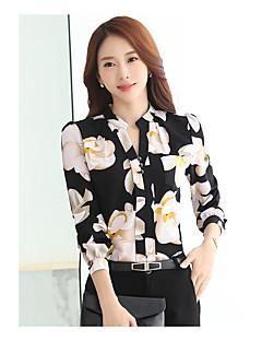 Damen Blumen Einfach Lässig/Alltäglich Hemd,Rundhalsausschnitt Frühling Langarm Polyester Dünn