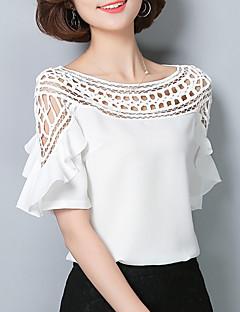 Damen Solide Retro Anspruchsvoll Ausgehen Lässig/Alltäglich Bluse,Bateau Alle Saisons Kurzarm Kunstseide Polyester