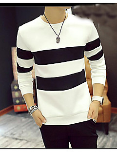 Men's Beach Simple Shirt,Striped Animal Print Color Block Round Neck Long Sleeves Polyester
