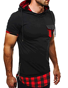 Men's Sports Formal Going out Casual/Daily Simple Active Summer T-shirt,Color Block Plaid Hooded Short Sleeve Cotton Medium