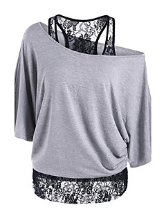 Women's Lace Going out Casual/Daily Sexy Sophisticated T-shirt,Solid Patchwork Off Shoulder Short Sleeve Rayon