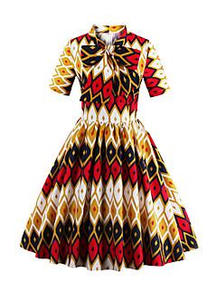 Women's Plus Size Vintage A Line Dress,Print Stand Knee-length Short Sleeve Multi-color Cotton All Seasons Mid Rise Micro-elastic Medium