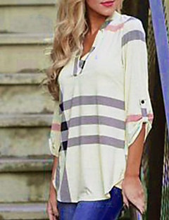Feminino Camisa Social Casual Moda de Rua Outono,Listrado Algodão Decote V