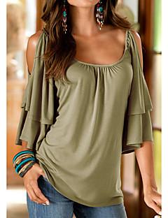 Tee-shirt Femme,Couleur Pleine Sortie simple Eté ½ Manches Col Arrondi Polyester Moyen