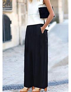Feminino Boho Moda de Rua Cintura Média Elástico Chinos Calças,Perna larga Sólido
