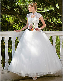 Ball Gown Illusion Neckline Floor Length Organza Wedding Dress with Beading Appliques by TYSY