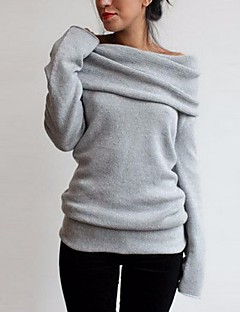 Damen Pullover Lässig/Alltäglich Solide Rundhalsausschnitt Entfernbares Futter Unelastisch Baumwolle Lange Ärmel Winter