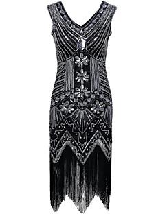 vaipan / pylvään v-kaula epäsymmetrinen polyesteri cocktail party kotipukuinen mekko paljetteja