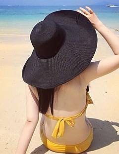 Feminino Chapéu Vintage Clássico Linho Microfibra Verão Chapéu de sol,Sólido Côr Pura