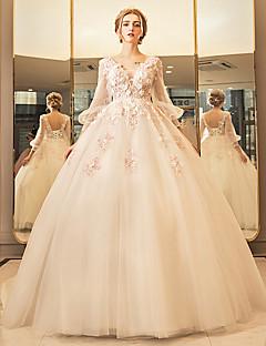 С пышной юбкой Погруженный декольте В пол Тюль Свадебное платье с Бусины Аппликации Кружева от YUANFEISHANI