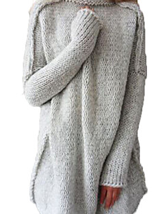 Damer Afslappet/Hverdag Lang Cardigan Ensfarvet,Rullekrave Langærmet Akryl Vinter Medium Elastisk