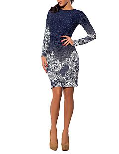 Damen Hülle Kleid Sexy Einfach Solide Druck Rundhalsausschnitt Mini Übers Knie Langarm Polyester Alle Saisons Tiefe Hüfthöhe