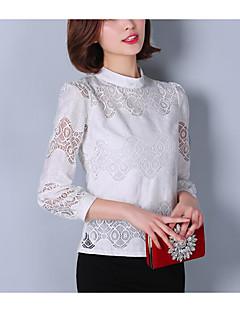 Damen Solide Einfach Hemd,Ständer Sommer Langarm Baumwolle
