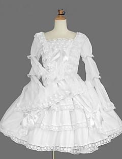 Yksiosainen/Mekot Gothic Lolita Lolita Cosplay Lolita-mekot Valkoinen Vintage Holkki Pitkähihainen Polvipituinen Leninki varten