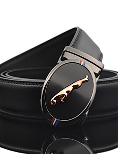 Men's Simple Oval Jaguar Business Black Genuine Leather Alloy Automatic Buckle Waist Belt Work/Casual/Party All Seasons
