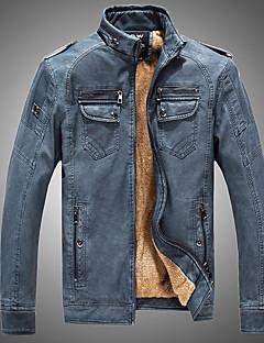メンズ カジュアル/普段着 秋 冬 レザージャケット,ヴィンテージ スタンド ソリッド レギュラー 長袖