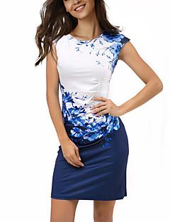 여성 칼집 드레스 보호 플로럴 컬러 블럭,라운드 넥 무릎 위 짧은 소매 폴리에스테르 스판덱스 여름 중간 밑위 약간의 신축성 얇음