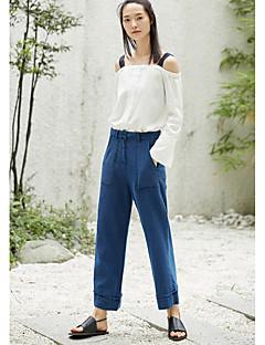 Feminino Simples Cintura Média Inelástico Jeans Calças,Largo Sólido