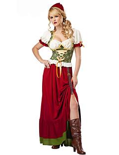 Cosplay Kostumer Festkostume Tjenestepige Kostumer Oktoberfest Festival/Højtider Halloween Kostumer Rød Ensfarvet Kjole Hatte Halloween