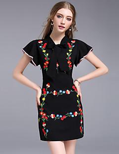 Kadın Dışarı Çıkma Çalışma Vintage Sade Kılıf Elbise Nakışlı,Kısa Kollu Yuvarlak Yaka Diz üstü Polyester Yaz Normal Bel Esnemez Orta