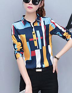 Feminino Camisa Social Trabalho Moda de Rua Primavera Outono,Arco-Íris Poliéster Colarinho de Camisa Manga Longa Média