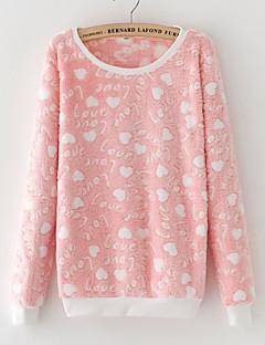 Damen Pullover Lässig/Alltäglich Druck Rundhalsausschnitt Mikro-elastisch Kunstseide Lange Ärmel Winter