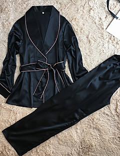 בגדי ריקוד נשים חלוקים סטן ומשי חליפות Nightwear-Retro מוצק