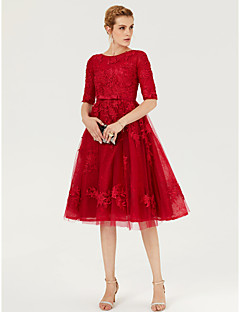 Princess Jewel Neck Knee Length Lace Tulle Cocktail Party Dress with Appliques Bow(s) Sash / Ribbon by TS Couture®