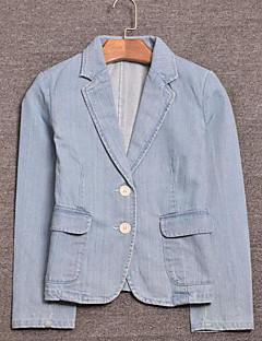 Damen Solide Einfach Lässig/Alltäglich Blazer,Hemdkragen Frühling Lange Ärmel Standard Andere