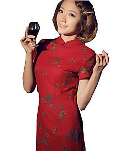Yksiosainen/Mekot Klassinen ja Perinteinen Lolita Vintage-kokoelma Cosplay Lolita-mekot Painettu Vintage Hihaton Cheongsam vartenPellava